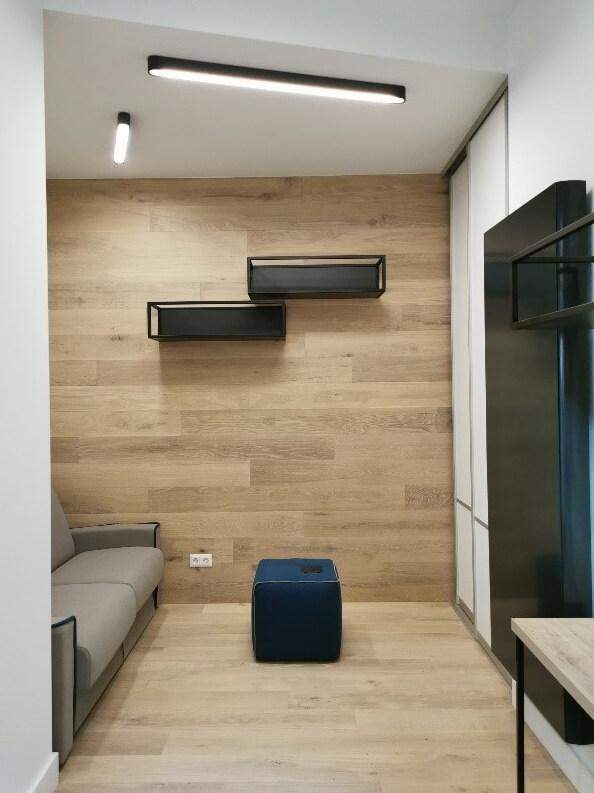 Modern polgári lakás vendégszobája Budán